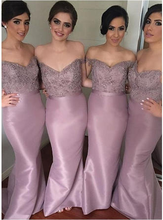 Taffeta Lace Sleeveless Sheath/Column Bridesmaid Dresses Off-the-Shoulder Beading Sequins Sweep Train