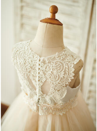 A-Line Knee-length Flower Girl Dress - Satin/Tulle/Lace Sleeveless Scoop Neck