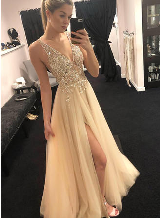 Sleeveless A-Line/Princess Prom Dresses V-neck Beading Appliques Lace Split Front Floor-Length