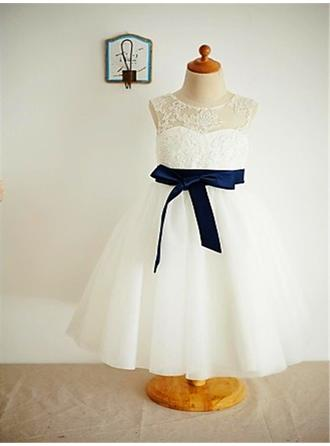 Ankle-length Sleeveless Tulle/Lace Magnificent Flower Girl Dresses