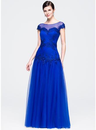 A-Linie/Princess-Linie U-Ausschnitt Bodenlang Abendkleider mit Rüschen Perlstickerei Applikationen Spitze Pailletten