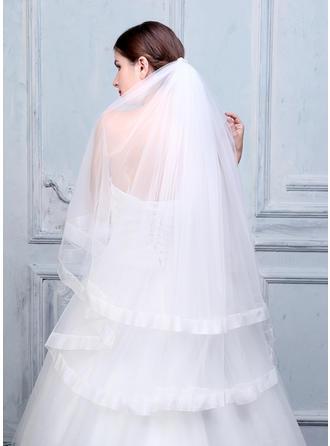 Fingerspitze Braut Schleier Tüll/Lace Zweischichtig Ovale mit Band Rand Brautschleier
