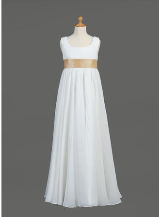 Empire Scoop Neck Floor-length With Sash Chiffon/Taffeta Flower Girl Dress