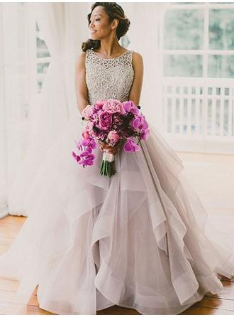 Ball-Gown Square Neckline Floor-Length Tulle Evening Dresses With Cascading Ruffles