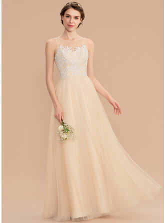 A-Line Scoop Neck Floor-Length Tulle Lace Bridesmaid Dress