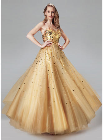 Tulle Sleeveless Ball-Gown Prom Dresses Sweetheart Sequins Floor-Length