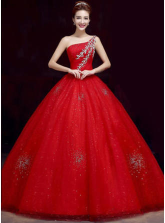 ثوب حفلة الطول الأرضي فستان الزفاف مع مطرز بالخرز زين ترتر