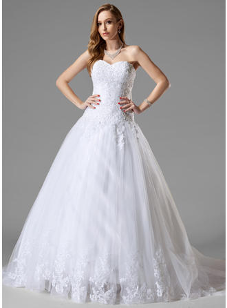Ball-Gown Court Train Wedding Dress With Lace Beading