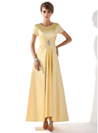 Charmeuse Short Sleeves Mother of the Bride Dresses Scoop Neck A-Line/Princess Ruffle Beading Asymmetrical