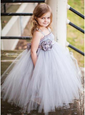 Glamorous Straps A-Line/Princess Flower Girl Dresses Floor-length Tulle Sleeveless