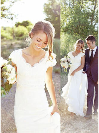 Magnificent Chiffon Wedding Dresses Trumpet/Mermaid Sweep Train V-neck Sleeveless