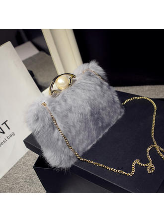 Clutches Wedding/Ceremony & Party Fur Push-lock frame closure Delicate Clutches & Evening Bags (012188033)