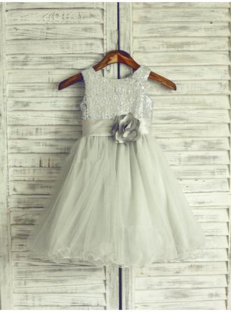 A-Line/Princess Scoop Neck With Flower(s) Sleeveless Spring/ Summer/ Fall/ Winter Flower Girl Dresses
