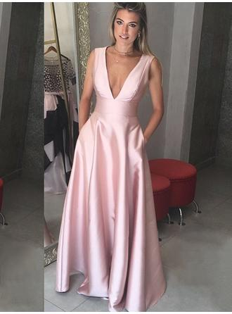 2019 New Satin Evening Dresses A-Line/Princess Floor-Length V-neck Sleeveless (017217873)