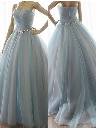 Chic Tulle Prom Dresses Ball-Gown Floor-Length Sweetheart Sleeveless