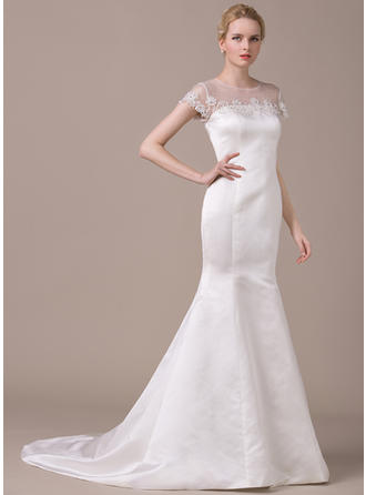 Sexy Court Train Trumpet/Mermaid Wedding Dresses Scoop Satin Short Sleeves