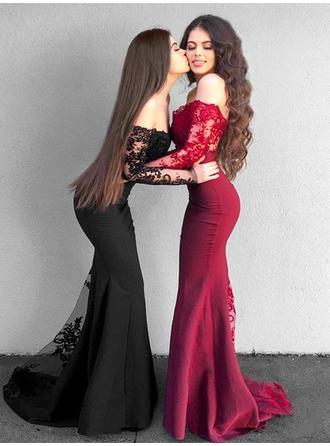 Trumpet/Mermaid Stretch Crepe Prom Dresses Newest Sweep Train Off-the-Shoulder Long Sleeves (018218139)