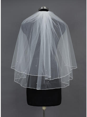 Elbow Bridal Veils Tulle Two-tier Classic With Pencil Edge Wedding Veils