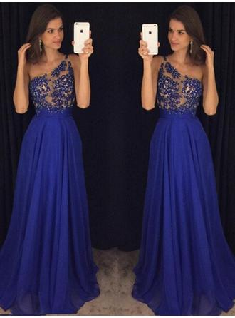 A-Line/Princess One-Shoulder Chiffon Sleeveless Floor-Length Beading Evening Dresses