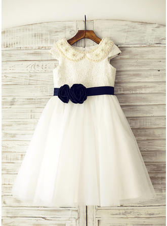 A-Line/Princess Knee-length Flower Girl Dress - Tulle/Lace Sleeveless Peter Pan Collar With Beading