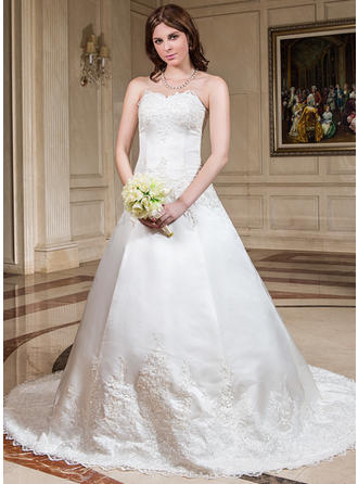 Sleeveless Ball-Gown Lace Beading With Satin Wedding Dresses