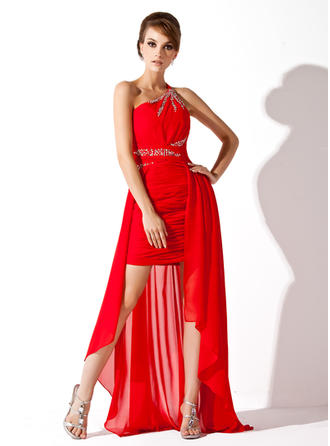 Chiffon Sleeveless A-Line/Princess Prom Dresses One-Shoulder Ruffle Beading Asymmetrical