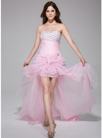 Organza Sleeveless A-Line/Princess Prom Dresses Sweetheart Ruffle Beading Flower(s) Asymmetrical