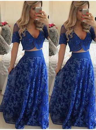 A-Line/Princess Lace Prom Dresses Luxurious Floor-Length V-neck Short Sleeves