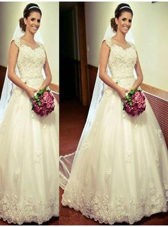 Ball-Gown Sweetheart Floor-Length Wedding Dress With Sash Appliques Lace