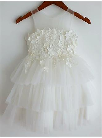 Scoop Neck A-Line/Princess Flower Girl Dresses Tulle Appliques Sleeveless Knee-length