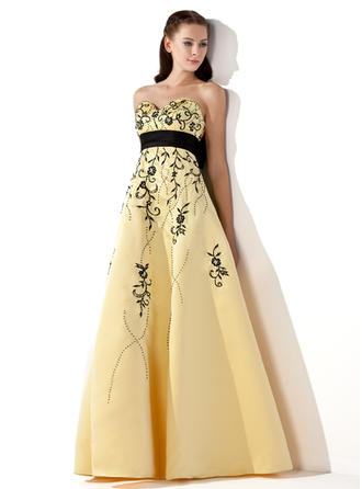 Gorgeous Satin Prom Dresses Empire Floor-Length Sweetheart Sleeveless