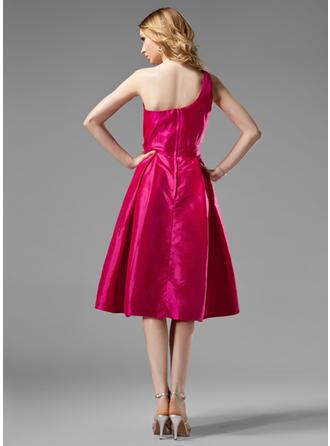 Beautiful ワンショルダー Aライン/プリンセスライン2 袖なし Taffeta ブライドメイドドレス (007004124)