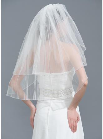 Two-tier Beaded Edge Fingertip Bridal Veils With Rhinestones