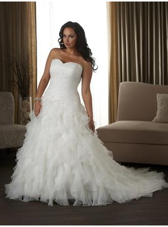 A-Line/Princess Sweetheart Court Train Wedding Dresses With Lace Cascading Ruffles