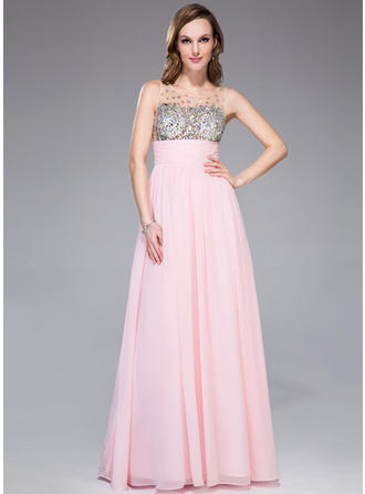 Empire Chiffon Prom Dresses Ruffle Beading Scoop Neck Sleeveless Floor-Length