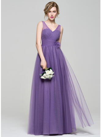 A-Line/Princess V-neck Floor-Length Tulle Bridesmaid Dress With Ruffle Flower(s)