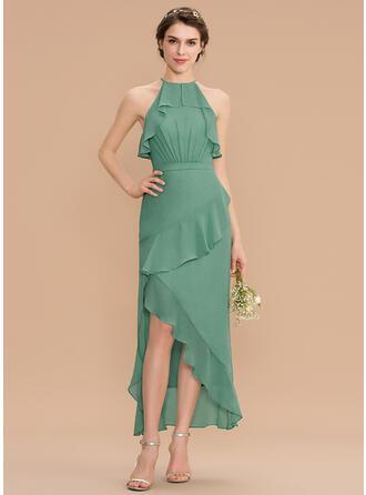 Corte A Decote redondo Assimétrico Tecido de seda Vestido de madrinha
