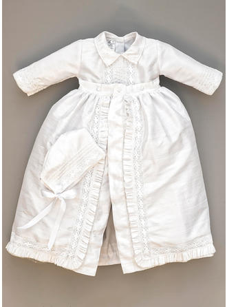 Satin Peter Pan Collar Lace Baby Boy's Christening Outfits With Long Sleeves