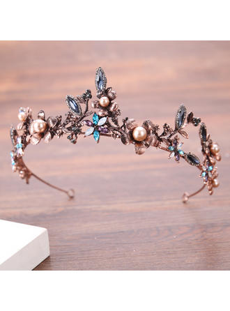 Ladies Beautiful Rhinestone/Alloy/Imitation Pearls Tiaras With Rhinestone/Venetian Pearl (042138721)
