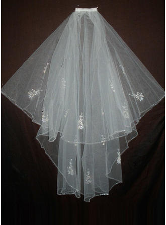Elbow Bridal Veils Tulle Two-tier Classic/Angel cut/Waterfall With Beaded Edge Wedding Veils