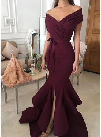 Magnificent Satin Evening Dresses Trumpet/Mermaid Sweep Train Off-the-Shoulder Sleeveless (017217207)