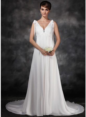 Delicate Court Train A-Line/Princess Wedding Dresses Sweetheart Chiffon Sleeveless