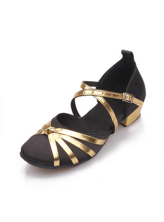 Women's Ballroom Sandals Satin With Buckle Hollow-out Dance Shoes