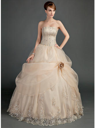 Simple Floor-Length Ball-Gown Wedding Dresses Strapless Satin Organza Sleeveless