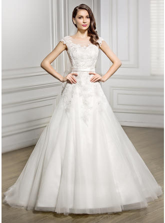 Chic Court Train A-Line/Princess Wedding Dresses Scoop Tulle Lace Sleeveless