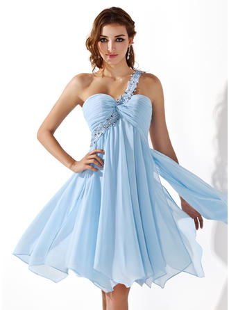 Empire One-Shoulder Knee-Length Chiffon Homecoming Dresses With Ruffle Beading Appliques Lace