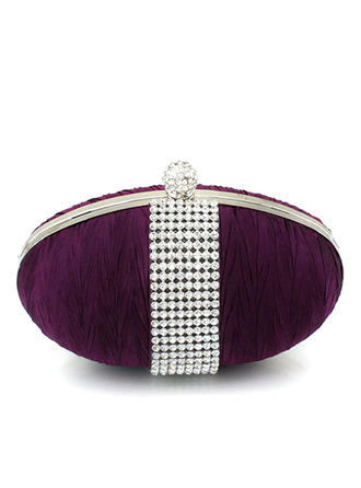 Clutches/Wristlets Wedding/Ceremony & Party Satin/Crystal/ Rhinestone Clip Closure Shining Clutches & Evening Bags