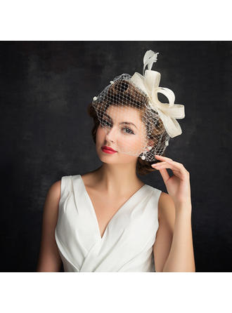 Ladies ' Enkle Kambriske/Fjer/Tyl med Fjer Fascinators
