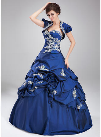 Taffeta Sleeveless Ball-Gown Prom Dresses Sweetheart Ruffle Beading Appliques Lace Sequins Floor-Length