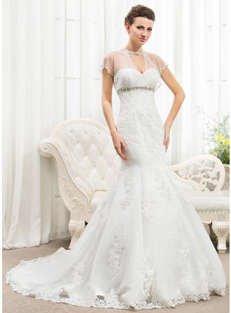 Magnificent Ruffle Beading Appliques Sequins Trumpet/Mermaid With Tulle Wedding Dresses